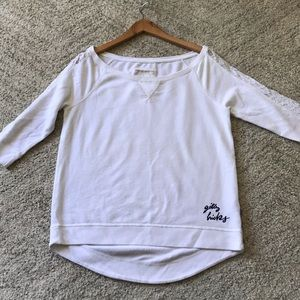 GILLY HICKS Boat Neck Lace Sleeve Sweatshirt